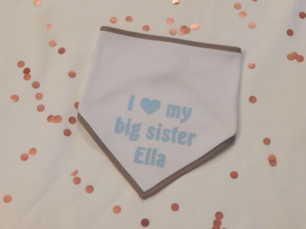 I Love My Big Sister Personalised Baby Bib Coloured Trim